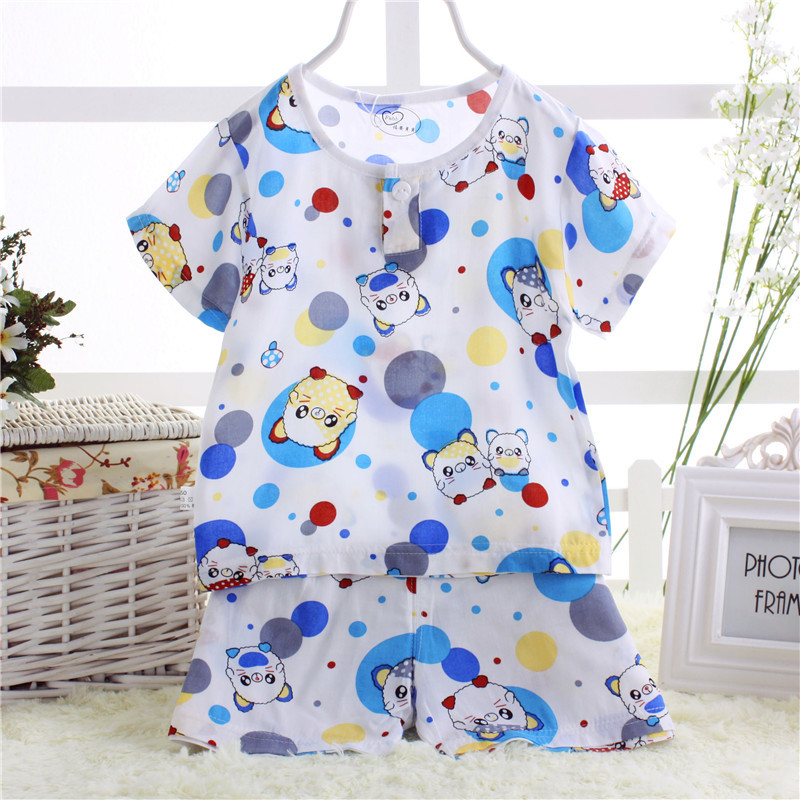 Summer Home Wear CHILDREN'S Suit Cotton Silk Short Sleeved Shorts Suit Baby Bourette Pajamas Air Conditioning Clothes Taotoukuan