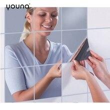 Декоративные настенные зеркальные часы с Стикеры листы Гибкая не Стекло зеркало Пластик Self клейкие плитки 3D зеркала стены Стикеры s Наклейка