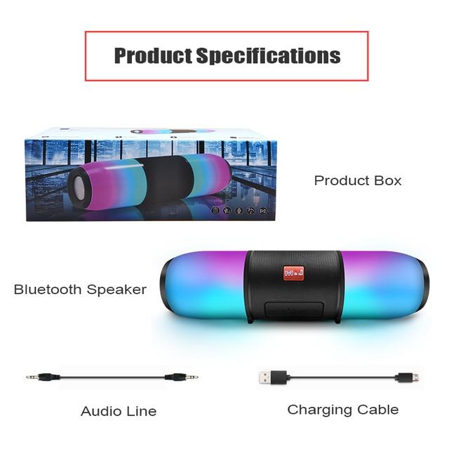 Portable Dual LED Bluetooth 5 0 Speaker Outdoor Waterproof Sports Speaker Wireless Speaker Mini Column Box