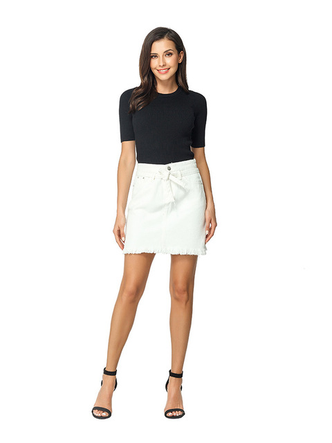 Straight Denim Jeans Above Knee Mini Empire Lace-up Pockets White Solid Street Casual Skirt 6