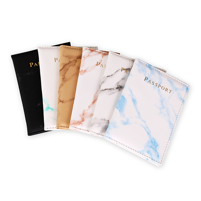 Colorful Marble Style Travel Passport Cover Black White PU Leather Passport Holder Case Waterproof High Quality Passport Packet