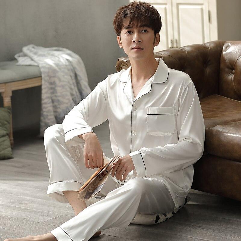 Mens White Satin Pajama Suit Summer Pijama Hombre Mens PJs Set Night Wear 2Pieces Solid Sleepwear Sleep&Lounge Pyjamas Plus Size