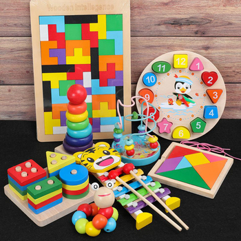 Kids Montessori Wooden Toys Rainbow Blocks Kid Learning Toy Baby Music Rattles Graphic Colorful Wooden Blocks Educational Toy 3