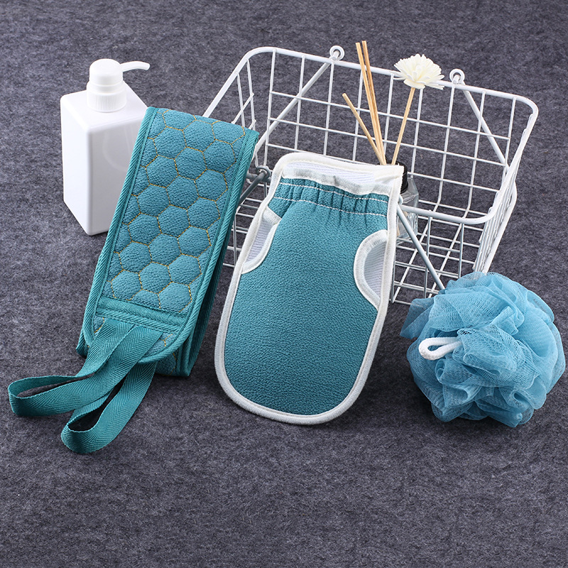 3pcs/set Body Cleaning Washcloth Soft Brush Home Hotel Bathroom Shower Ball Back Scrubber Set Exfoliating Skin Towel Bath Gloves