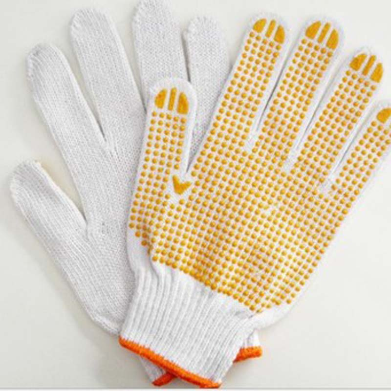 Single-sided Beaded Protective Cotton Yarn Gloves, Labor-proof Plastic Gloves, Wear-resistant Work Gloves
