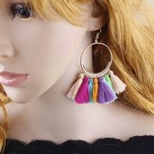 Fashion Women Colorful Tassel Earrings Big Circel Handmade Bohemian Hanging Earring Long Ethnic Fringe