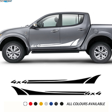 2Pcs Car Styling Body Door Side Skirt Stickers 4x4 Graphic Vinyl Film Decor Decals For For Mitsubishi L200 Car Accessories