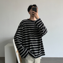 Autumn T Shirt Men Fashion Contrast Color Casual Long-sleeved T-shirt Man Streetwear Wild Hip-hop Loose Striped Tshirt Men Tops contrast striped cactus print casual t shirt