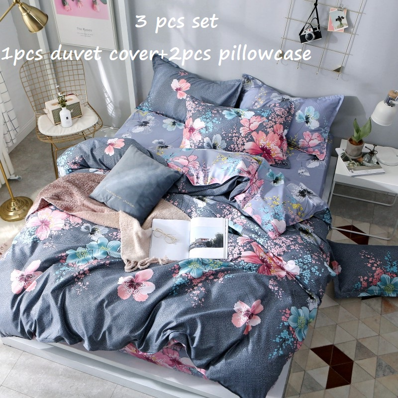 Duvet Cover Polyester Double Couple Bed Quilts Cover+2 Pillowcase Queen Full Twin King Bedding Set 220x240cm Bed Cover <font><b>150*200</b></font> image