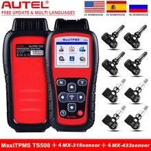 Autel TPMS TS508 Scanner with 8 Pieces Sensor Kit, MX Sensor 433MHZ /315HHZ Tire Professional TPMS Tool Sensor Program Service