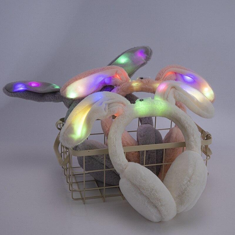 Novelty Luminous Winter Earmuffs Cute Rabbit Winter Accessories For Women Faux Fur Shiny Ears Kids Earmuffs