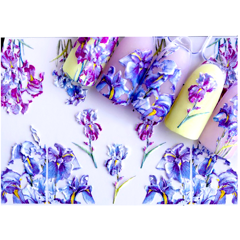 3D Acrylic Engraved  Nail Sticker  Colorful Mix  Shape  Flower  Water Decals Empaistic Nail Water Slide Decals Z0234