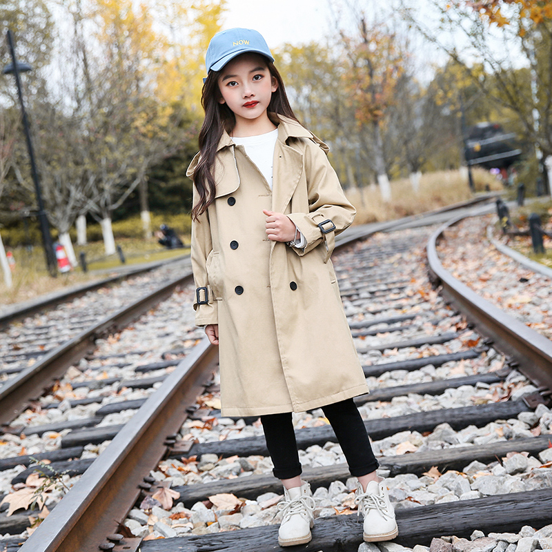 2020 New Kids Girls Jackets Solid Detachable Children Windbreaker Bow Coat Trench  Spring Autumn 3-14T Baby Girl Jacket