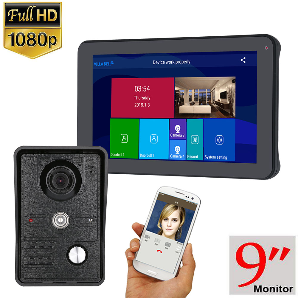 1080P 9 Inch Wireless/WIFI Smart IP Video Door Phone Doorbell Intercom System With 3 Night Vision Monitor + 2 Camera