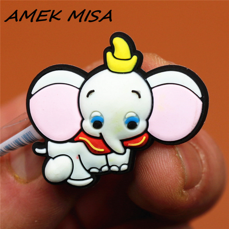 Novel Single Sale Cartoon Baby Elephant Shoe Charms Accessories Cute Dumbo Garden Shoe Decoration Fit Croc Jibz Kid's X-mas Gift