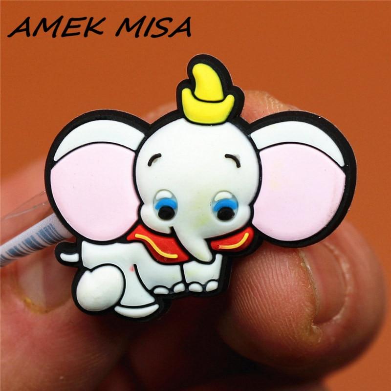 Novel Single Sale Cartoon Baby Elephant Shoe Charms Accessories Cute Dumbo Garden Shoe Decoration Fit Croc Jibz Kid's X-mas Gift