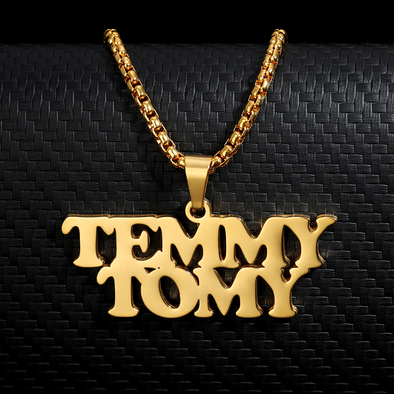 Punk Style Two Names Necklace Custom Big Name Nameplate Pendant Women Men Fashion Jewelry Handmade Hip Hop BFF Birthday Gifts