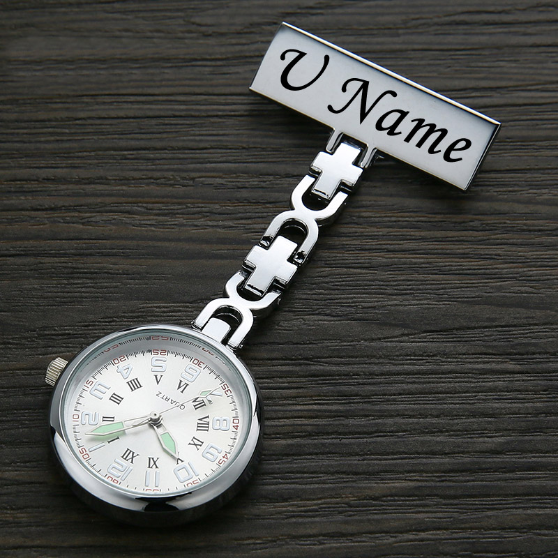 Personalized Customized Fob Watch Engraved with Your Name Stainless Steel Lapel Pin Brooch TOP Quality Pocket Fob Nurse Watch(China)