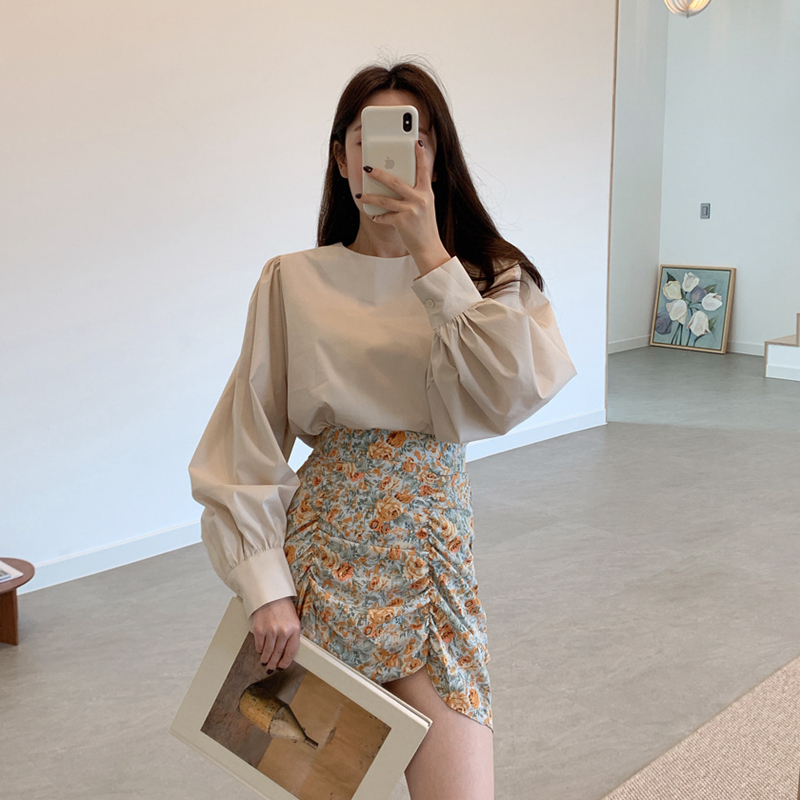 Two Piece Set Top And Skirt Elegant Long Lantern Sleeve O-neck Pullover Blouses High Waist Floral Print Vintage Mini Skirt Suits