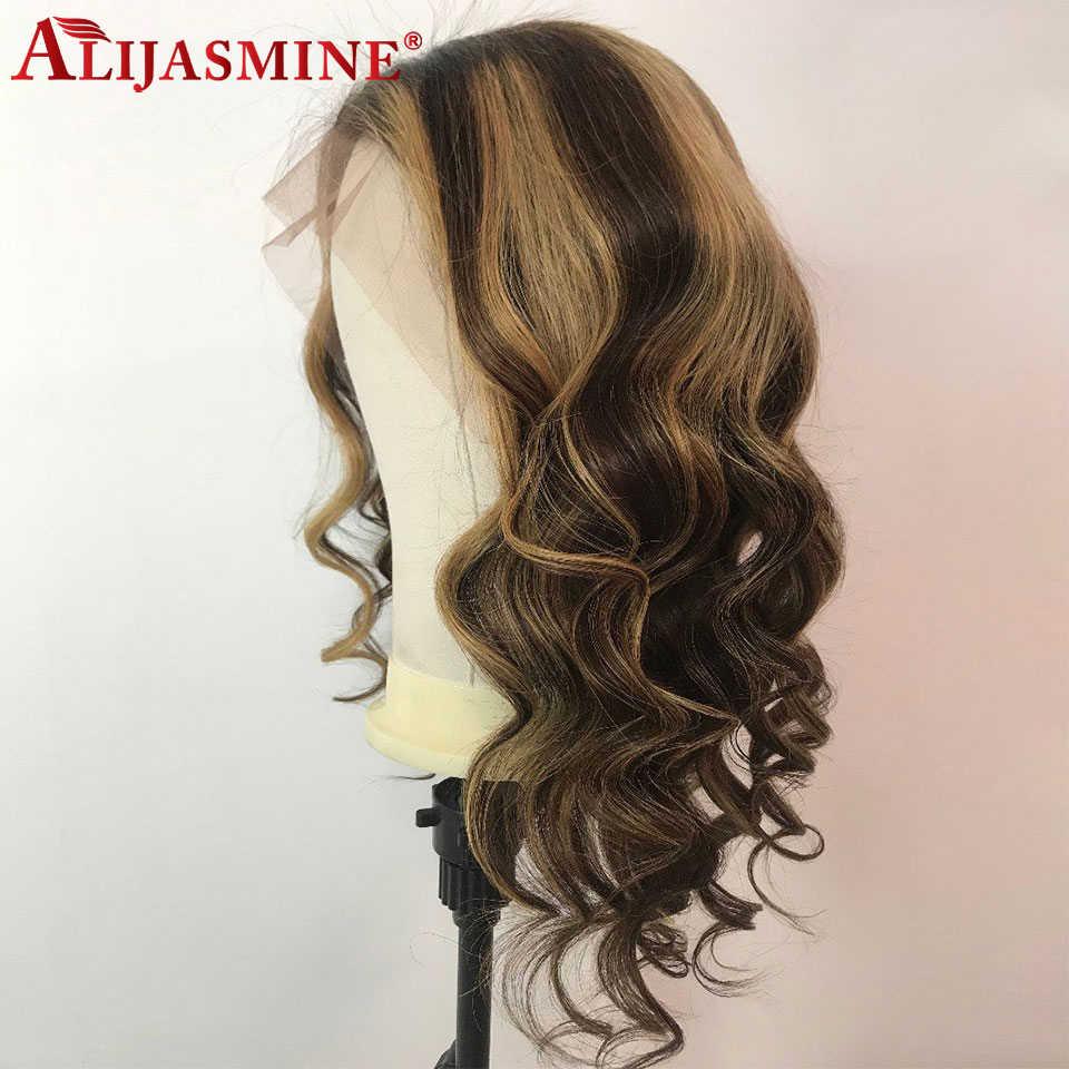 蜂蜜ブロンド強調かつら女性ペルーレミー 13 × 6 レースフロント人間の色の実体波かつら