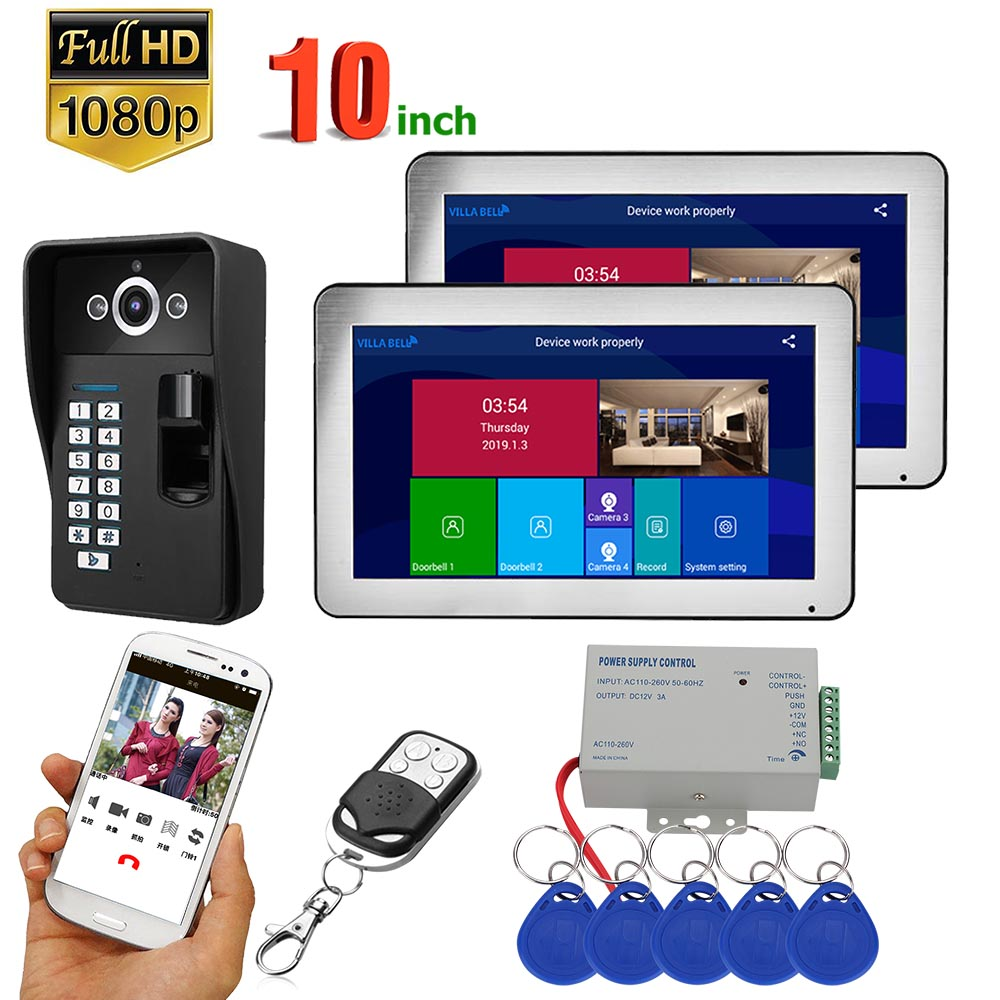 2 Monitors  10 Inch Record Wifi Wireless Fingerprint RFID Video Door Phone Doorbell Intercom System With Wired 1080P Camera