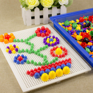 Image 4 - For Children 296pcs Mosaic Picture Puzzle Toy Children Composite Intellectual Educational Mushroom Nail Kit Toys with Box
