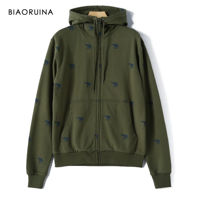 BIAORUINA Men's Korean Style Casual Elephant Printed Hoodies Fleece Liner Fashion Comfortabe Warm Hooded Sweatshirt With Zipper