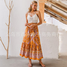 The new spring and summer 2020 Bohemian national wind Ian paisley bust of tall waist tassel belt A word long(China)