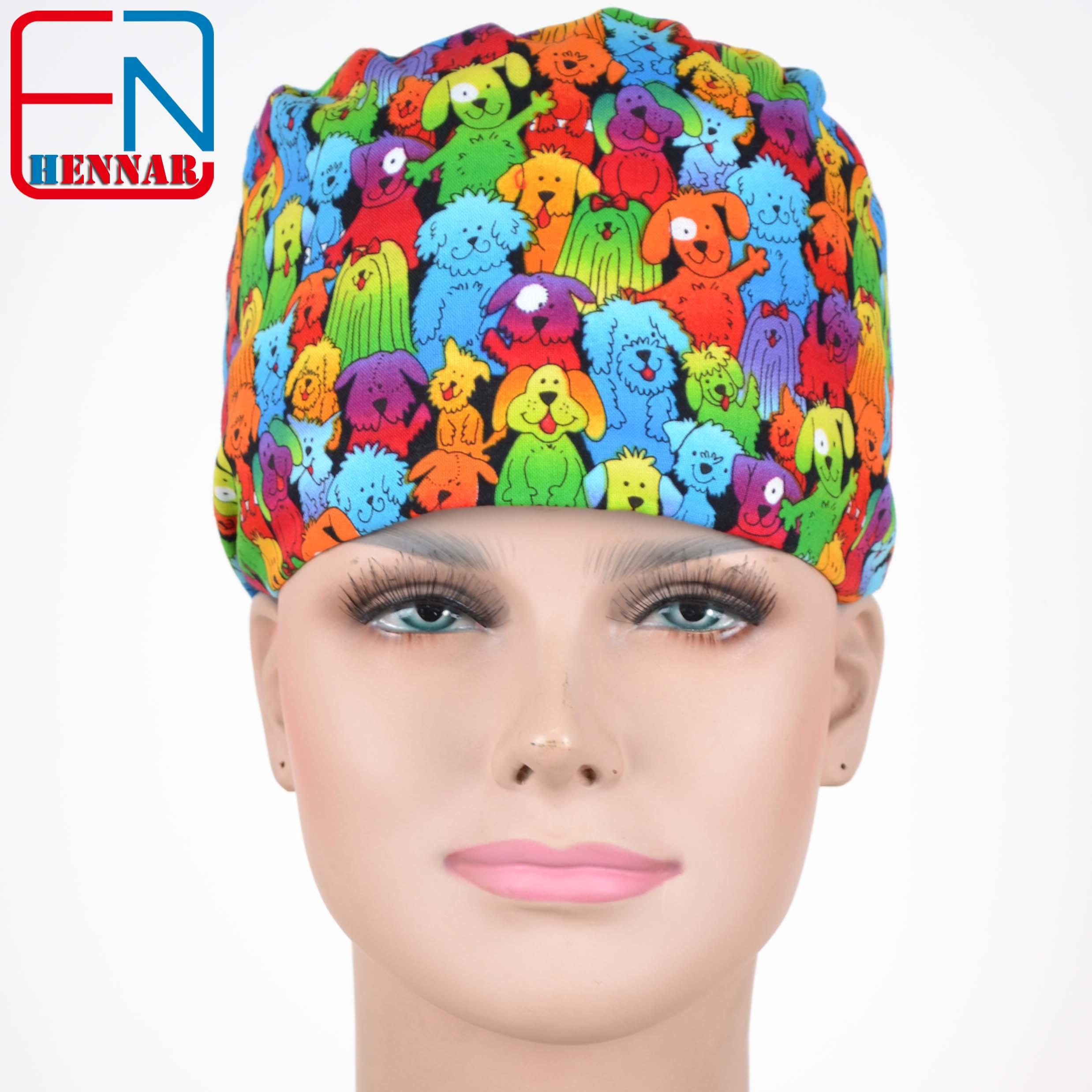 Hennar  Scrub Caps Masks 100% Cotton Adjustable Elastic Bands Surgical Scrub Caps Medical Hospital Doctor Headwear Cap Mask