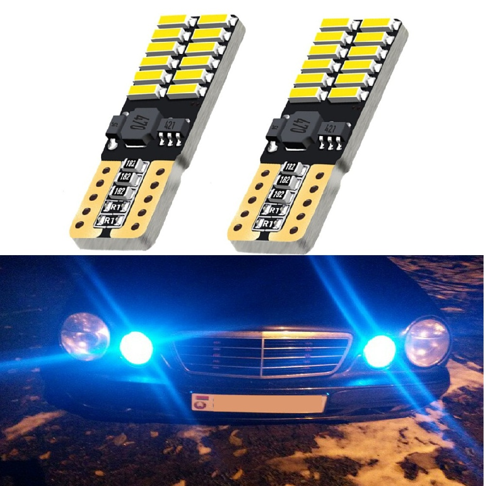 For Mercedes W211 <font><b>W203</b></font> W204 W210 W124 W202 W220 W164 X204 AMG T10 W5W LED Canbus Car Parking Light 4014SMD 24 Led Clearance Lamp image