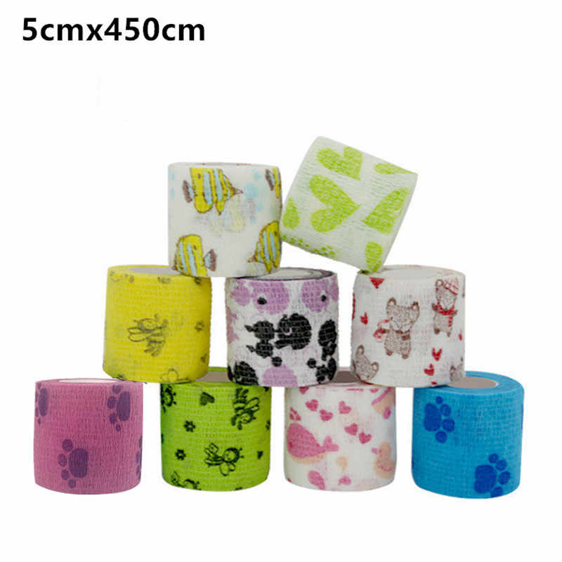 Sport Self-Adhesive Elastic Bandage Cartoon Printed Wrap Stretch Rolls Athletic Tape for Wrist