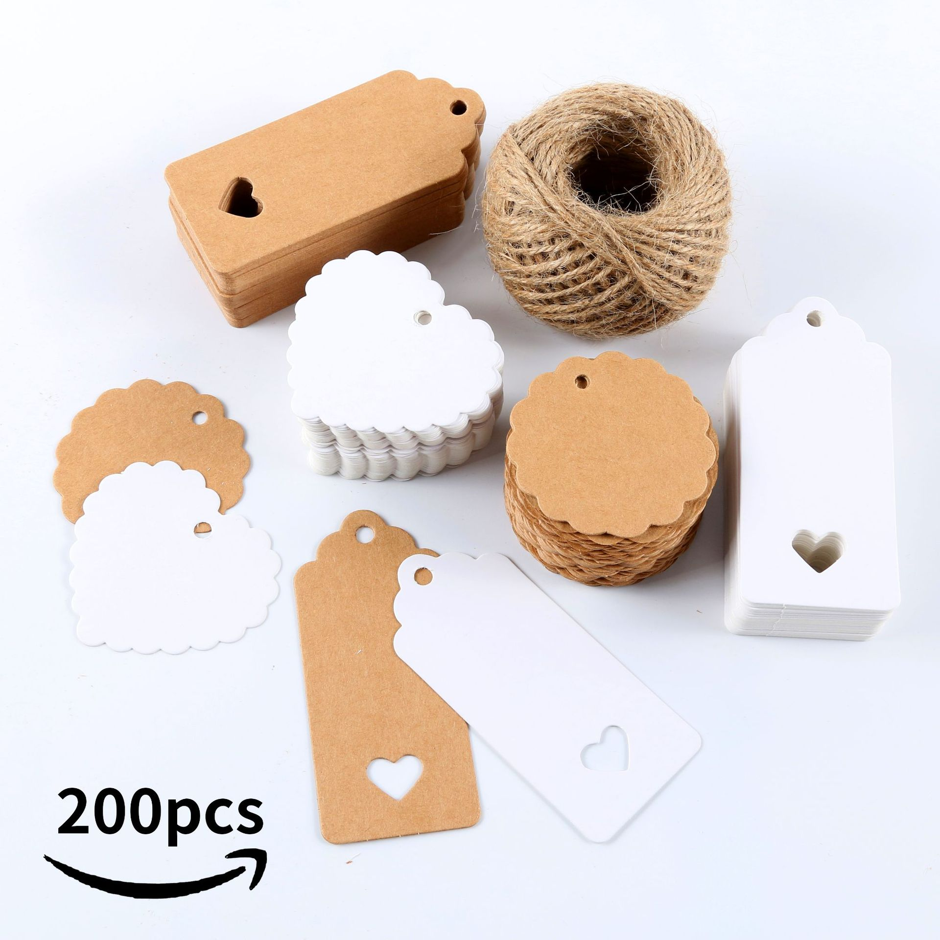 200 Pcs Natural Kraft Paper Handmade Blank label With Jute Twine Gift Tags For Price Garment Tags DIY Crafts Stationery Tags