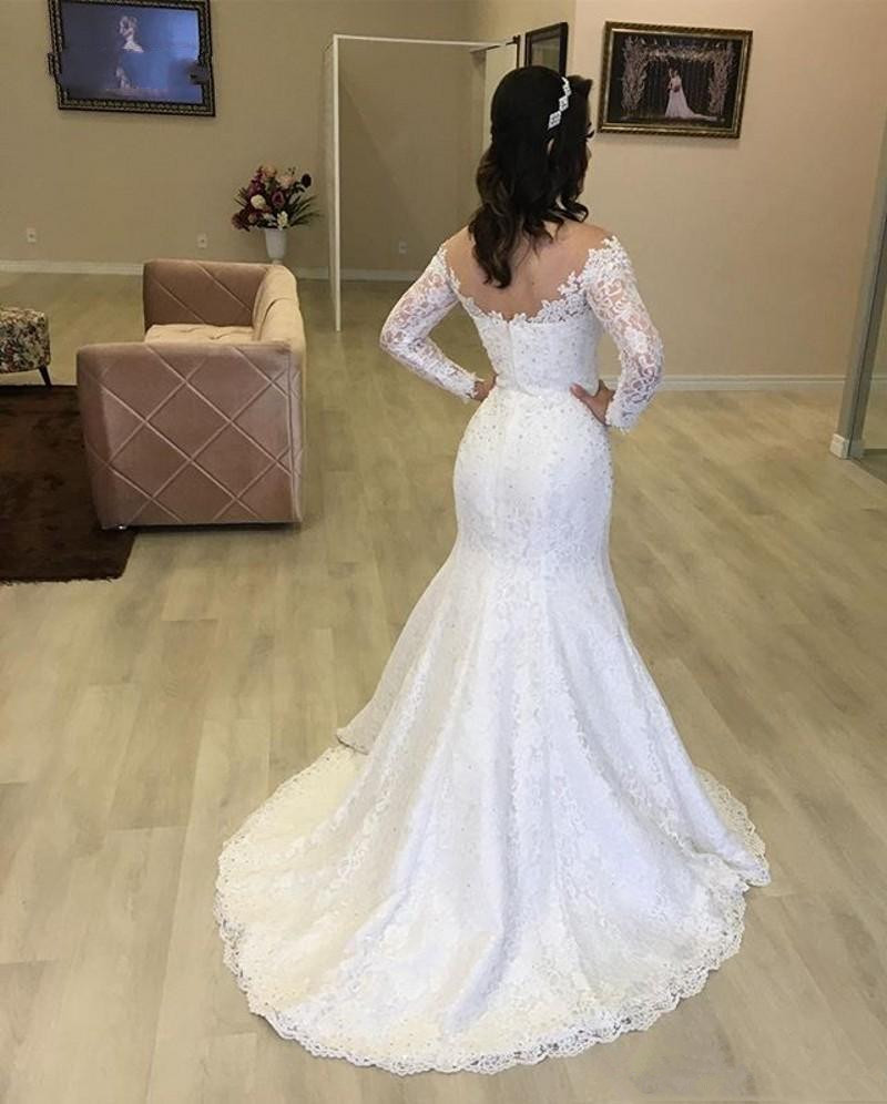 Sofuge Lace Trumpet Mermaid Weddding Dresses Long Sleeves Tank Scoop Beads Bridal Gown Formal Wedding Gown Custom Made Plus Size
