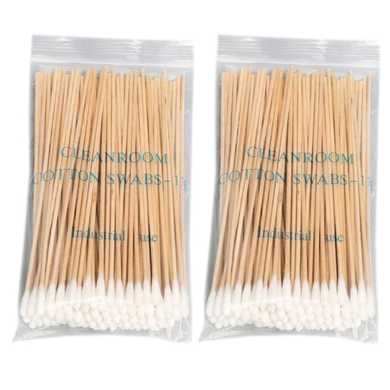 100/200Pcs 6 Inch Long Wooden Handle Cotton Swabs Cleaning Sticks Applicator Q0KD