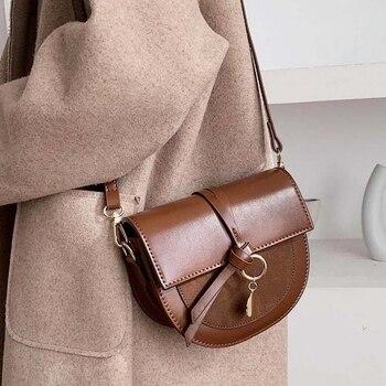 Mododiino Vintage Saddle Bag Korean Crossbody Bag For 2020 Women Patchwork Shoulder Bag Ladies Bag Lock Messenger Bag DNV1338 zipper chains lock crossbody bag