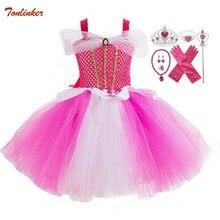 купить Girls Princess Halloween party Aurora Girl Dress Kids Cosplay Dress Up Christmas Costumes For Kids Fancy Party Dress Crown Wands онлайн