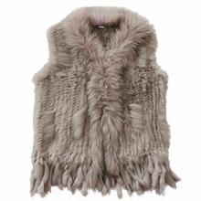 Harppihop Gratis Verzending Womens Natuurlijke Echt Konijnenbont Vest Met Wasbeer Bontkraag Vest/Jassen Rex Konijn Gebreide Winte