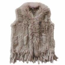 Harppihop送料無料レディースナチュラル本物のウサギの毛皮のベストとラクーン毛皮の襟のチョッキ/ジャケットレックスウサギニットwinte