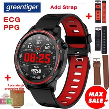 Greentigerใหม่L8 สมาร์ทนาฬิกาผู้ชายECG + PPG IP68 กันน้ำความดันโลหิตอัตราการเต้นหัวใจติดตามการออกกำลังกายกีฬาS Mart W Atch VS L5 L7