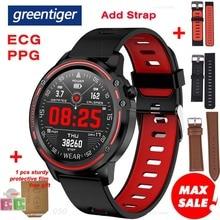 Greentiger novo l8 relógio inteligente masculino ecg + ppg ip68 à prova dip68 água pressão arterial e freqüência cardíaca de fitness rastreador esportes smartwatch vs l5 l7