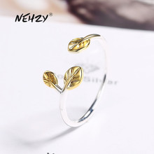 Open-Ring 925-Sterling-Silver Fashion Jewelry Golden-Leaf Adjustable-Size Woman New NEHZY