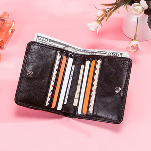 Image 4 - Contacts Genuine Leather Wallets Women Money Clips RFID Card Wallet Femal Purse Money Clip Small Coin Wallets Hasp Portomonee