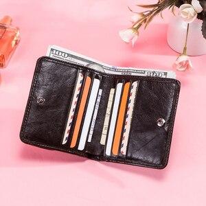 Image 4 - קשר של עור אמיתי ארנקים נשים קליפים כסף RFID כרטיס ארנק Femal ארנק קליפ כסף קטן מטבע ארנקי וו Portomonee