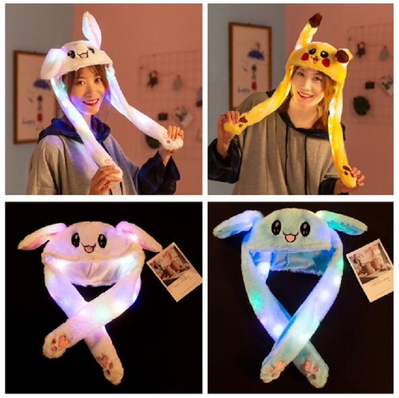Will Shine Moving Rabbit Ear Hat Velvet Toys Hair Hoop Hat Rabbit Hat Moves Ear Hat Plush Toy 3 Color Gifts For Children
