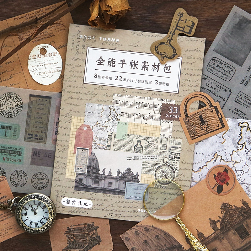 Купить с кэшбэком WOKO 33pcs/lot Retro Reading Notes Junk journal Material Kraft Paper English Letter Old Map Decoration Sticker DIY Scrapbooking