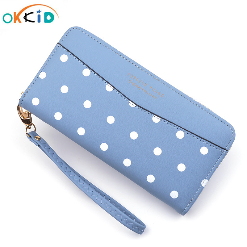 OKKID Girls Wristlet Clutch Wallet For Credit Cards Ladies Wallet Cell Phone Pocket Long Zipper Wallet Polka Dot Leather Purse