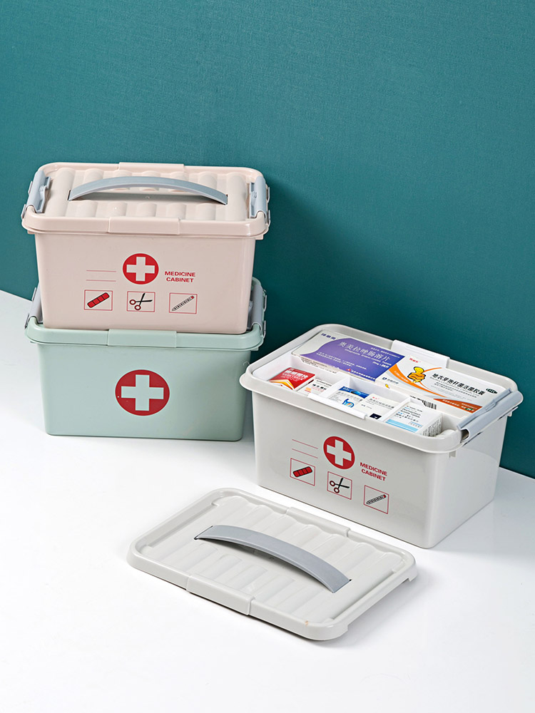 Double Layer Storage Box First Aid Kit Organizer With Handle Portable Kits Plastic Drug For Household