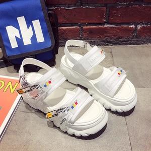 Image 5 - 2019 yaz tıknaz sandalet kadın 8cm kama yüksek topuklu ayakkabı kadın toka platformu deri rahat yazlık terlik kadın sandalet