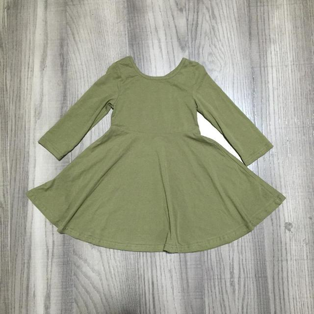 Girlymax Fall/winter Baby Girls Children Clothes Cotton Olive Wine Dark Green Solid Color Ruffles Dress 3