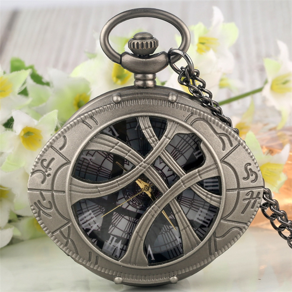 Vintage Doctor Strange Eye Shaped Half Hunter Quartz Pocket Watches Retro Grey Pendant Watch Fob Chains Romann Numerals Display